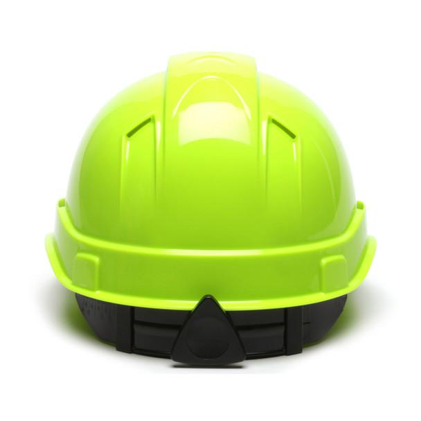 Box of 16 Pyramex Hi Vis Ridgeline Cap Style Vented 4-Point Ratchet Hard Hats HP44131V Hi Vis Lime Back
