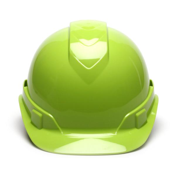 Box of 16 Pyramex Hi Vis Ridgeline Cap Style Vented 4-Point Ratchet Hard Hats HP44131V Hi Vis Lime Front