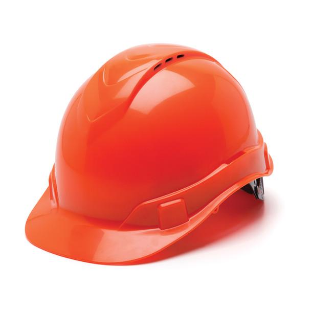 Box of 16 Pyramex Hi Vis Ridgeline Cap Style Vented 4-Point Ratchet Hard Hats HP44141V Hi Vis Orange Front Angled