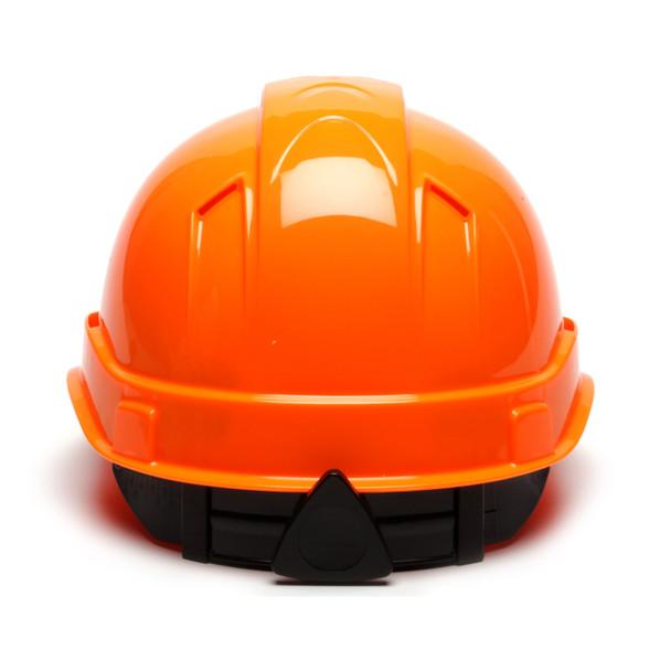 Box of 16 Pyramex Hi Vis Ridgeline Cap Style Vented 4-Point Ratchet Hard Hats HP44141V Hi Vis Orange Back