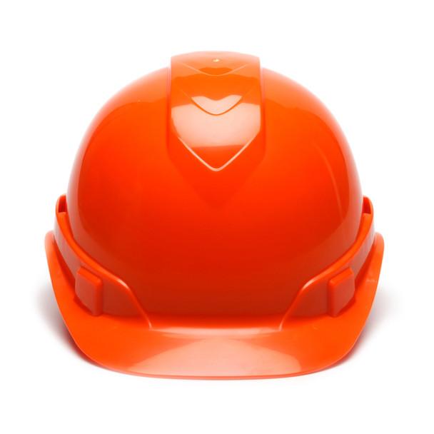 Box of 16 Pyramex Hi Vis Ridgeline Cap Style Vented 4-Point Ratchet Hard Hats HP44141V Hi Vis Orange Front