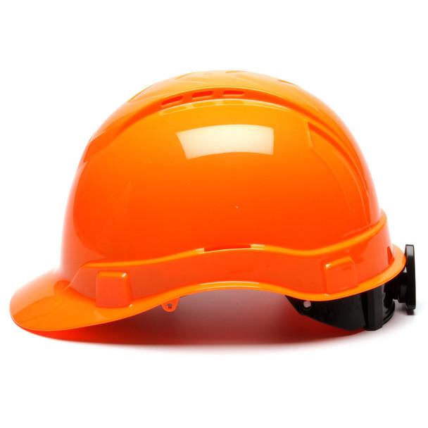 Box of 16 Pyramex Hi Vis Ridgeline Cap Style Vented 4-Point Ratchet Hard Hats HP44141V Hi Vis Orange Side Profile