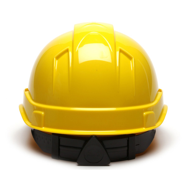Box of 16 Pyramex Hi Vis Ridgeline Cap Style 6-Point Ratchet Hard Hats HP46130 Yellow Back