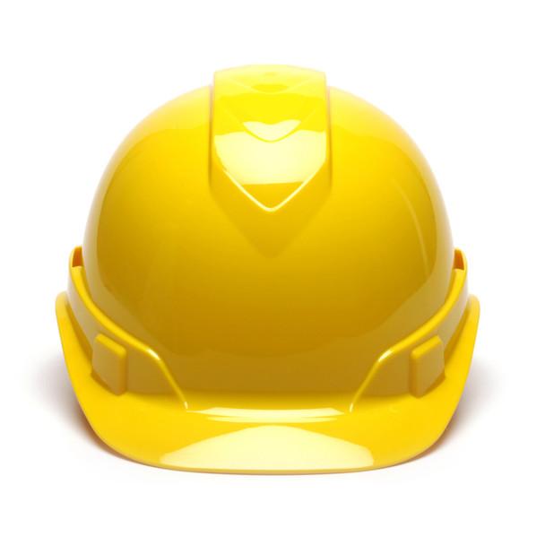 Box of 16 Pyramex Hi Vis Ridgeline Cap Style 6-Point Ratchet Hard Hats HP46130 Yellow Front
