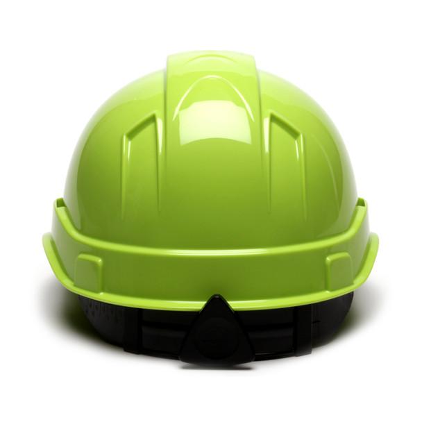 Box of 16 Pyramex Hi Vis Ridgeline Cap Style 6-Point Ratchet Hard Hats HP46131 Hi Vis Lime Back