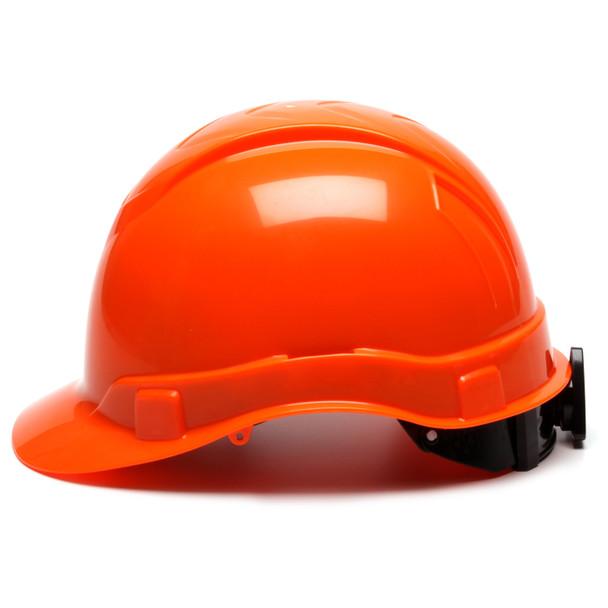 Box of 16 Pyramex Hi Vis Ridgeline Cap Style 6-Point Ratchet Hard Hats HP46141 Hi Vis Orange Side Profile