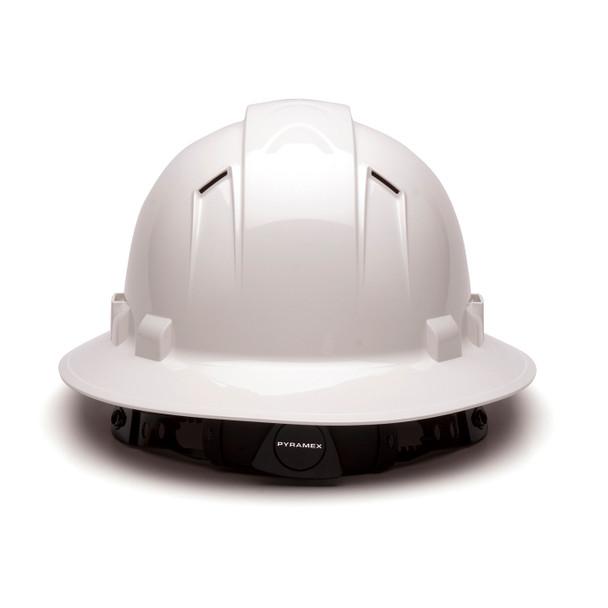Box of 12 Pyramex Ridgeline Full Brim Vented 4-Point Ratchet Hard Hats HP54110V White Back