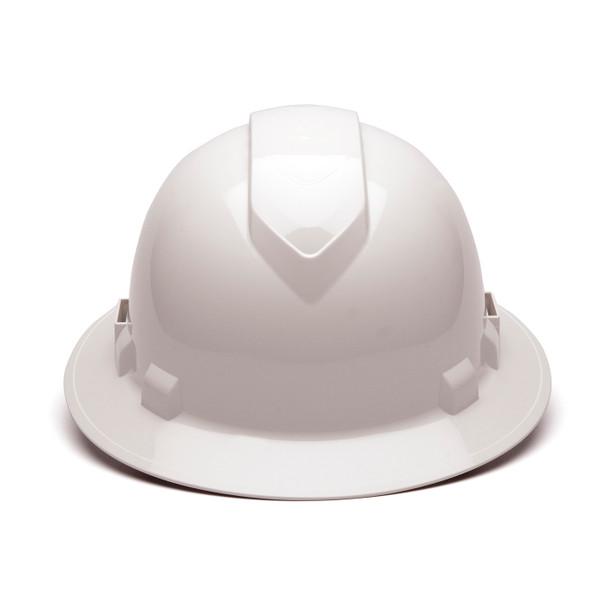 Box of 12 Pyramex Ridgeline Full Brim Vented 4-Point Ratchet Hard Hats HP54110V White Front