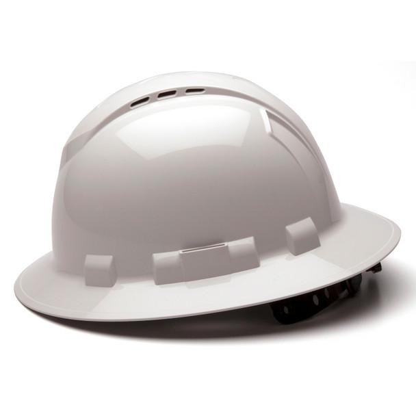 Box of 12 Pyramex Ridgeline Full Brim Vented 4-Point Ratchet Hard Hats HP54110V White Side Profile