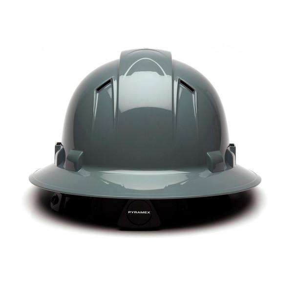 Box of 12 Pyramex Ridgeline Full Brim Vented 4-Point Ratchet Hard Hats HP54113V Slate Gray Back