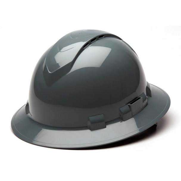 Box of 12 Pyramex Ridgeline Full Brim Vented 4-Point Ratchet Hard Hats HP54113V Slate Gray Front Angled
