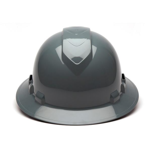 Box of 12 Pyramex Ridgeline Full Brim Vented 4-Point Ratchet Hard Hats HP54113V Slate Gray Front