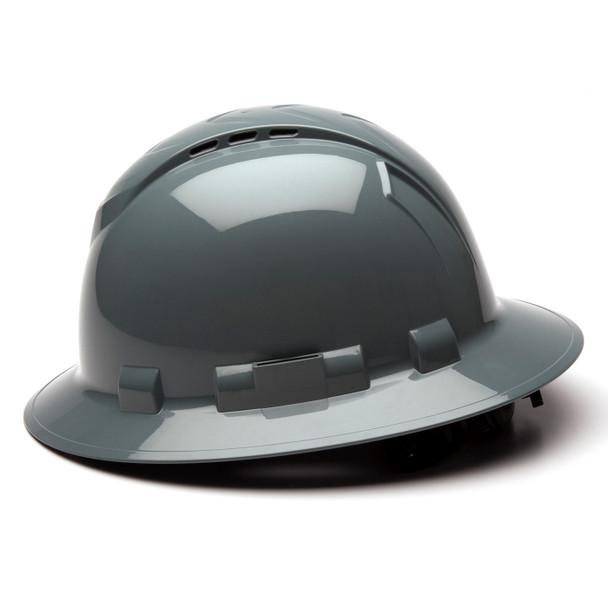 Box of 12 Pyramex Ridgeline Full Brim Vented 4-Point Ratchet Hard Hats HP54113V Slate Gray Side Profile