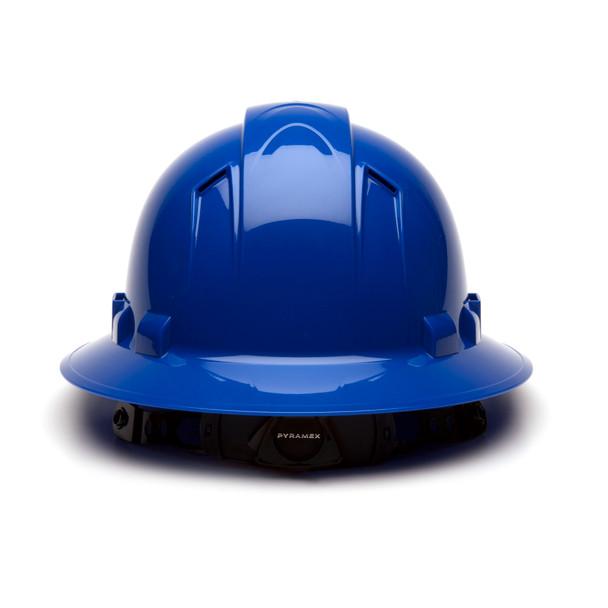 Box of 12 Pyramex Ridgeline Full Brim Vented 4-Point Ratchet Hard Hats HP54160V Blue Back
