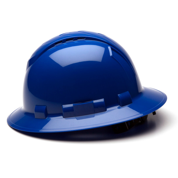 Box of 12 Pyramex Ridgeline Full Brim Vented 4-Point Ratchet Hard Hats HP54160V Blue Side Profile