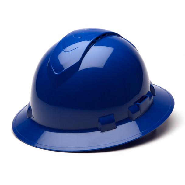 Box of 12 Pyramex Ridgeline Full Brim Vented 4-Point Ratchet Hard Hats HP54160V Blue Front Angled