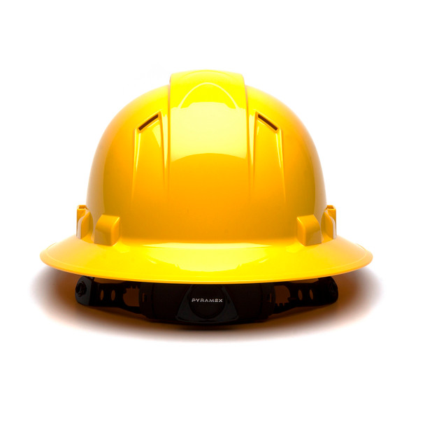 Box of 12 Pyramex Hi Vis Ridgeline Full Brim Vented 4-Point Ratchet Hard Hats HP54130V Yellow Back