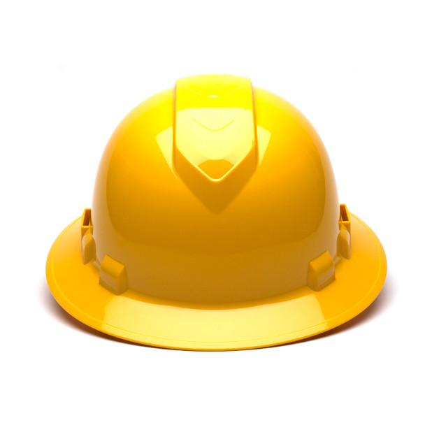 Box of 12 Pyramex Hi Vis Ridgeline Full Brim Vented 4-Point Ratchet Hard Hats HP54130V Yellow Front