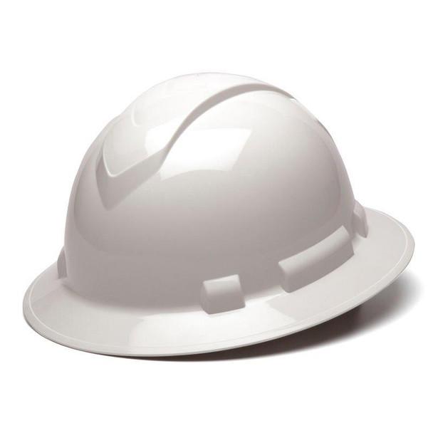 Box of 12 Pyramex Ridgeline Full Brim 6-Point Ratchet Hard Hats HP56110 White
