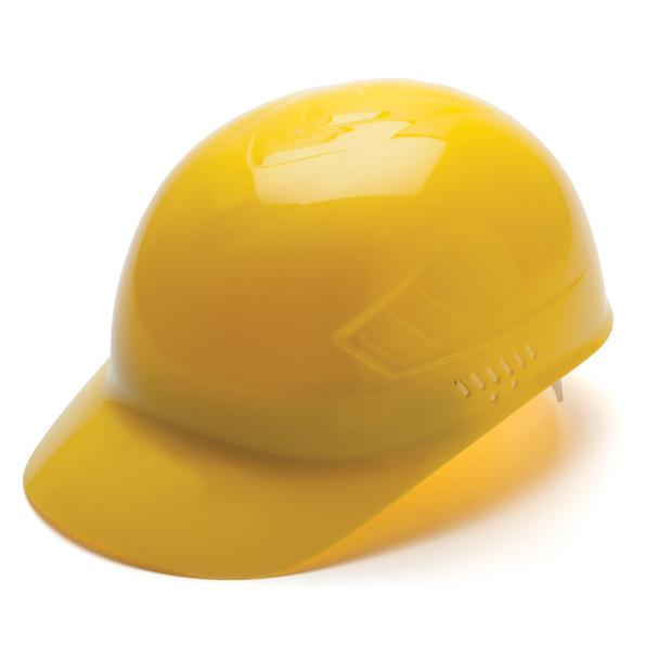 Box of 16 Pyramex Hi Vis Ridgeline 4-Point Glide Lock Bump Caps HP40030 Yellow Front Angled