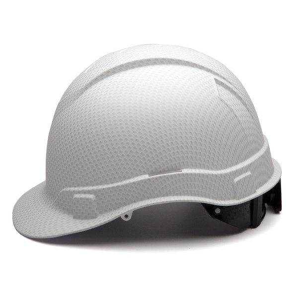 Box of 16 Pyramex Ridgeline Cap Style 4-Point Ratchet Hydro Dipped Hard Hats HP44116 Matte White Side Profile