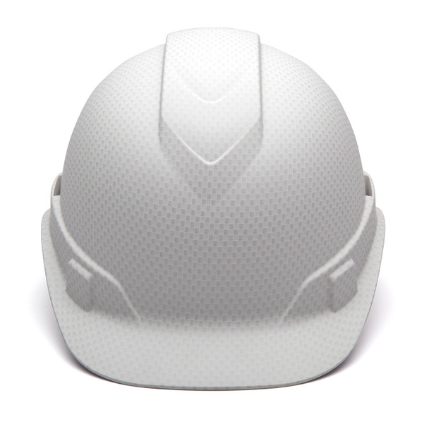 Box of 16 Pyramex Ridgeline Cap Style 4-Point Ratchet Hydro Dipped Hard Hats HP44116 Matte White Front