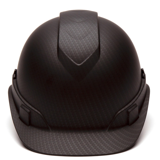 Box of 16 Pyramex Ridgeline Cap Style 4-Point Ratchet Hydro Dipped Hard Hats HP44117 Matte Black Front