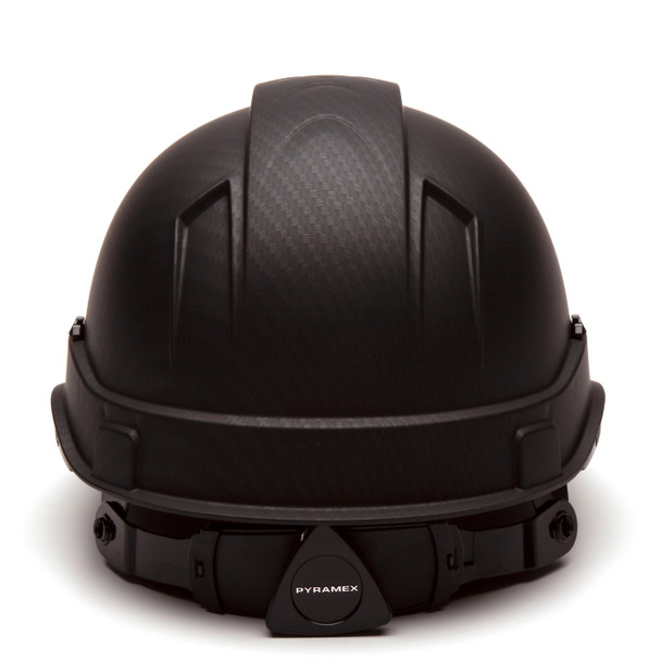 Box of 16 Pyramex Ridgeline Cap Style 4-Point Ratchet Hydro Dipped Hard Hats HP44117 Matte Black Back