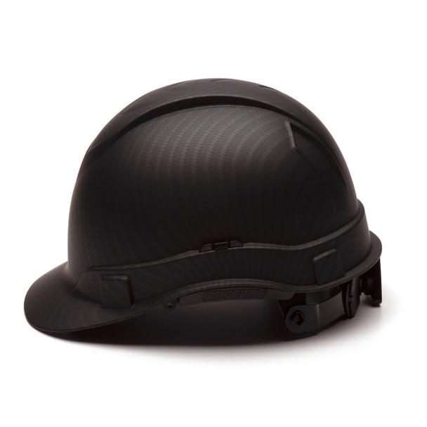 Box of 16 Pyramex Ridgeline Cap Style 4-Point Ratchet Hydro Dipped Hard Hats HP44117 Matte Black Side Profile