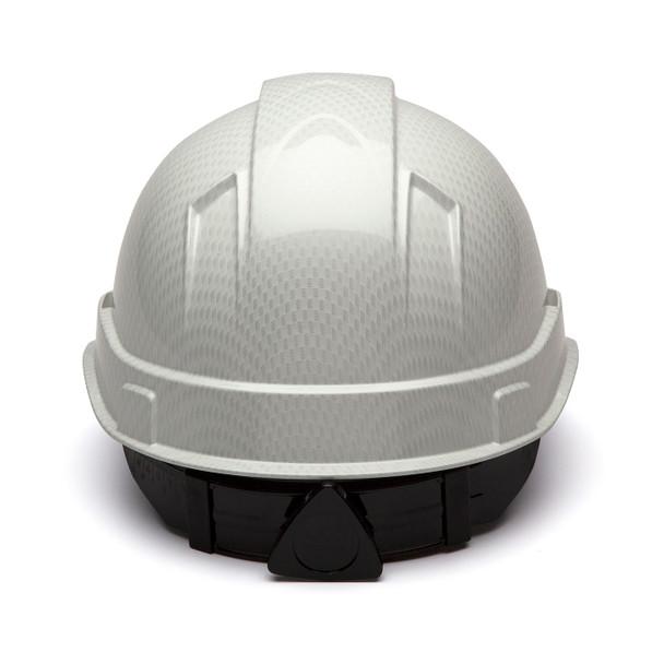 Box of 16 Pyramex Ridgeline Cap Style 4-Point Ratchet Hydro Dipped Hard Hats HP44116S Shiny White Back