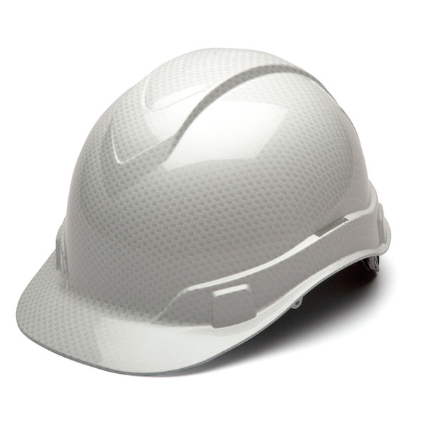 Box of 16 Pyramex Ridgeline Cap Style 4-Point Ratchet Hydro Dipped Hard Hats HP44116S Shiny White Front Angled