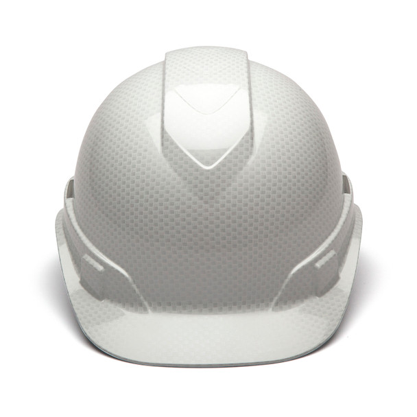 Box of 16 Pyramex Ridgeline Cap Style 4-Point Ratchet Hydro Dipped Hard Hats HP44116S Shiny White Front