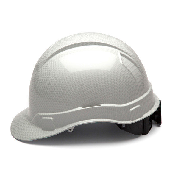 Box of 16 Pyramex Ridgeline Cap Style 4-Point Ratchet Hydro Dipped Hard Hats HP44116S Shiny White Side Profile
