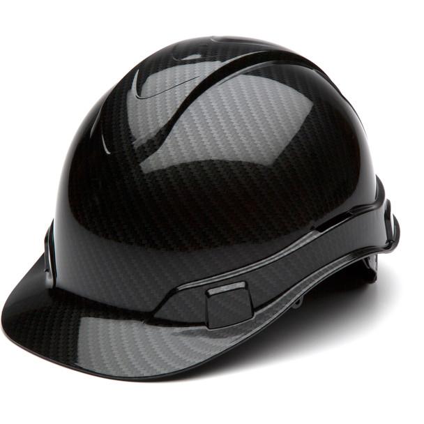 Box of 16 Pyramex Ridgeline Cap Style 4-Point Ratchet Hydro Dipped Hard Hats HP44117S Shiny Black Front Angled