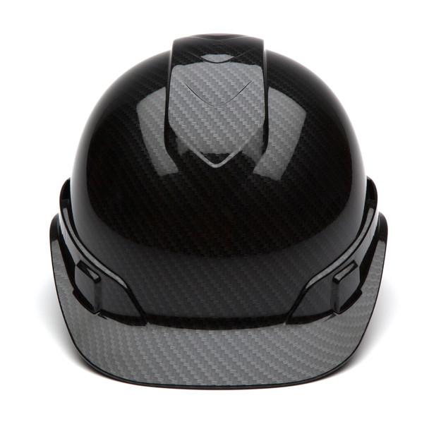 Box of 16 Pyramex Ridgeline Cap Style 4-Point Ratchet Hydro Dipped Hard Hats HP44117S Shiny Black Front