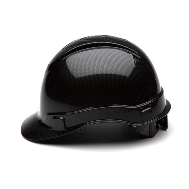 Box of 16 Pyramex Ridgeline Cap Style 4-Point Ratchet Hydro Dipped Hard Hats HP44117S Shiny Black Side Profile