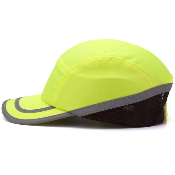 Box of 12 Pyramex Hi Vis Lime Baseball Bump Caps HP50031 Profile