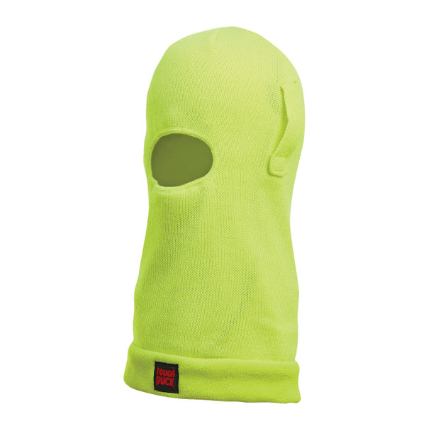 Tough Duck Non-ANSI Hi Vis Acrylic Fleece Lined Balaclava with Hard Hat Straps i26516 Fluorescent Green