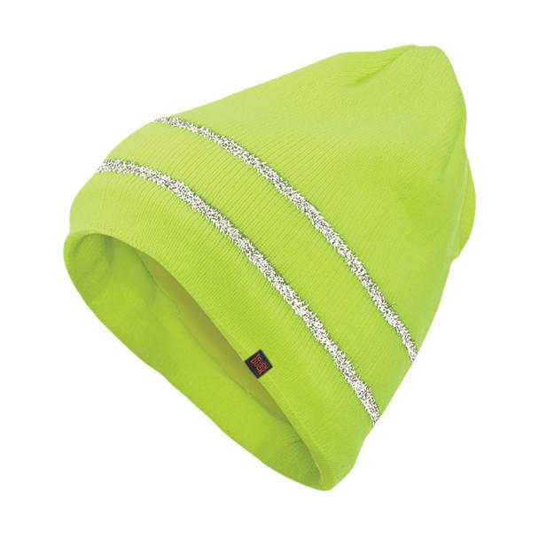 Tough Duck Non-ANSI Hi Vis Acrylic Knit Cap with Reflective Stripes i45816-FL Fluorescent Green