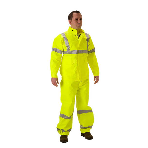 NASCO FR Class 3 Hi Vis Yellow ArcLite Air Made in USA Rain Jacket 1701JFY Front (OVERALL SOLD SEPERATE)