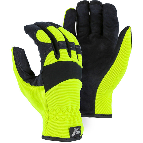 Majestic Box of 12 Pair Armor Skin Mechanics Gloves with Hi Vis Knit Back 2136HY