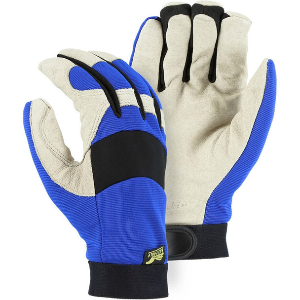 Majestic Box of 12 Pair Blue Winter Lined Bald Eagle Mechanics Gloves 2152TW