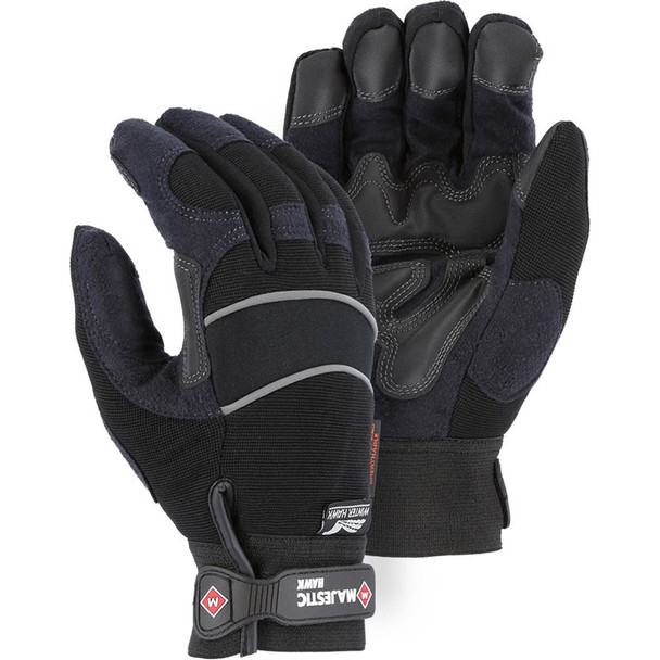 Majestic Box of 12 Pair Black Winter Gloves with Armor Skin 2145BKH