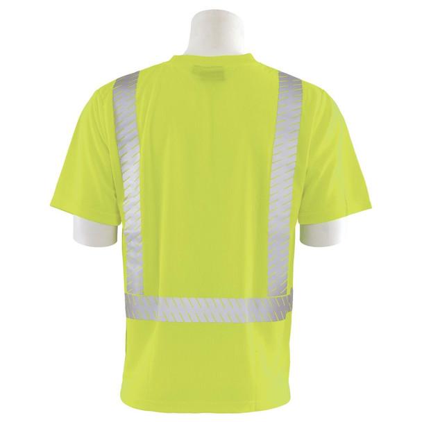 ERB Class 2 Hi Vis Lime Moisture Wicking T-Shirt with Segmented Reflective Tape 9006SEG-L Back