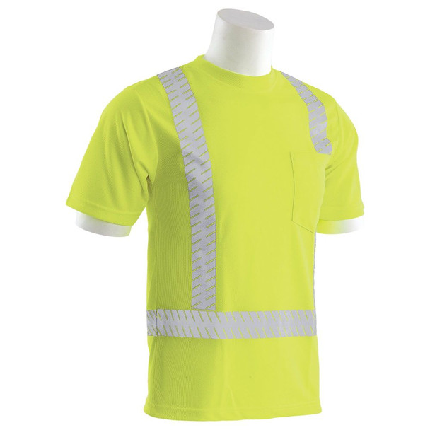 ERB Class 2 Hi Vis Lime Moisture Wicking T-Shirt with Segmented Reflective Tape 9006SEG-L Right Side