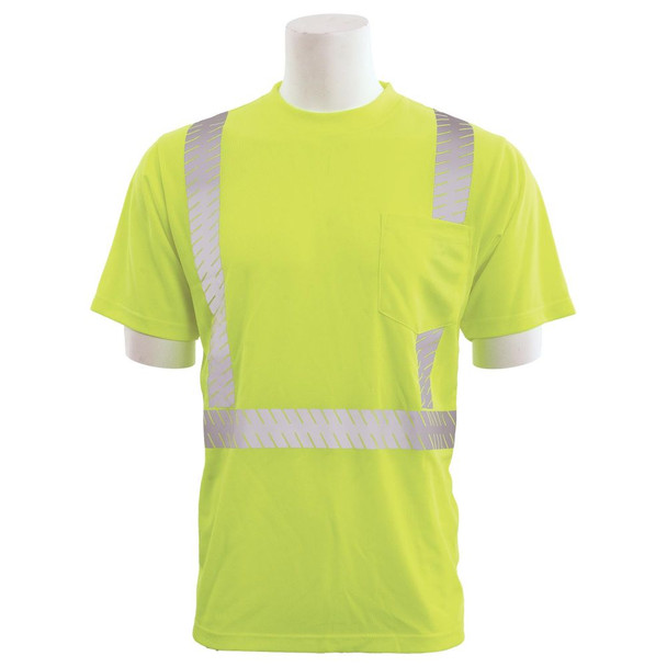 ERB Class 2 Hi Vis Lime Moisture Wicking T-Shirt with Segmented Reflective Tape 9006SEG-L Front