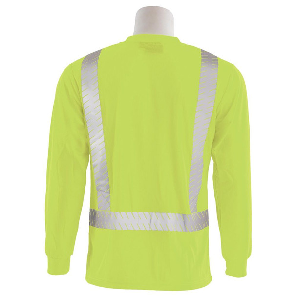 ERB Class 2 Hi Vis Lime Long Sleeve T-Shirt with Segmented Reflective Tape 9007SEG-L Back