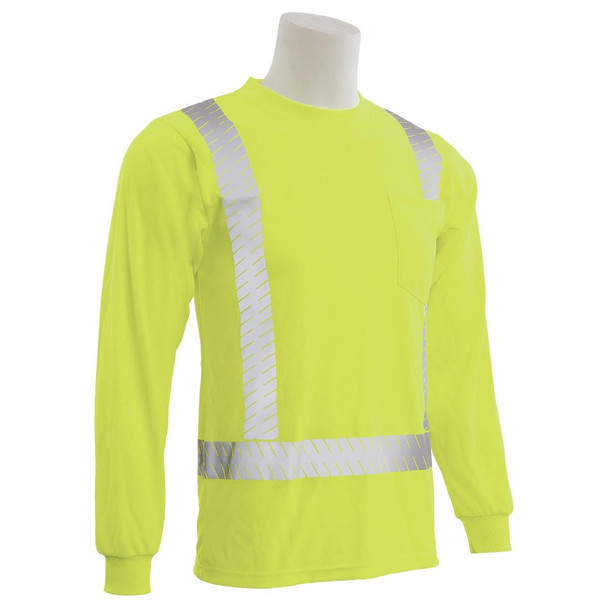 ERB Class 2 Hi Vis Lime Long Sleeve T-Shirt with Segmented Reflective Tape 9007SEG-L Right Side