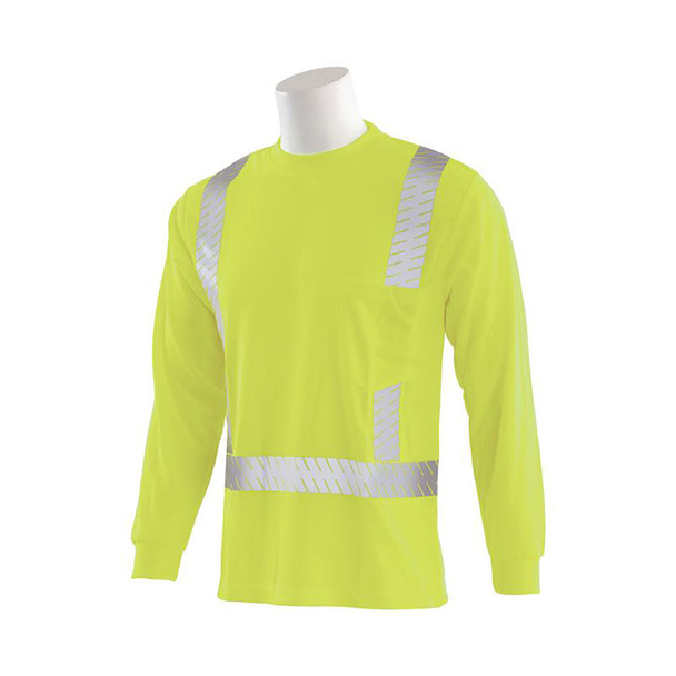 ERB Class 2 Hi Vis Lime Long Sleeve T-Shirt with Segmented Reflective Tape 9007SEG-L Right Left Side