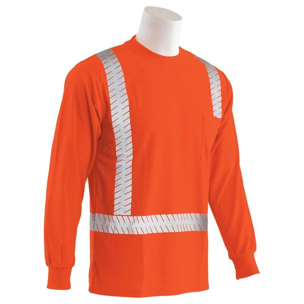 ERB Class 2 Hi Vis Moisture Wicking Orange Long Sleeve T-Shirt with Segmented Reflective Tape 9007SEG-O Right Side